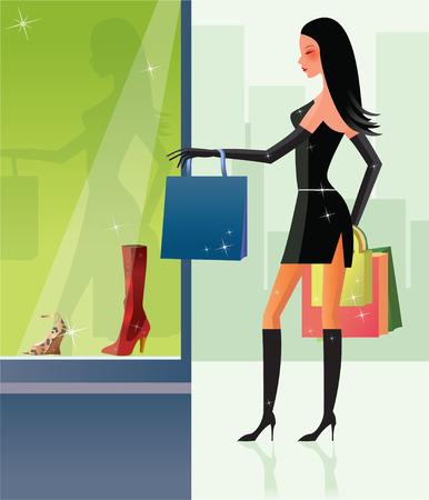 shopping sexy girl Vector