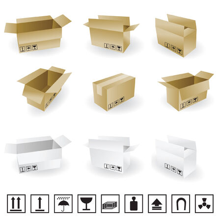 shipping box vector and Box Icon and Signs Vector