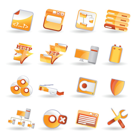 Server side icon set Vector