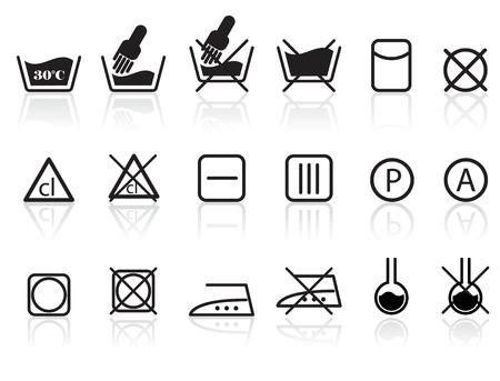 solvant: Lave-linge et textiles Symboles Illustration