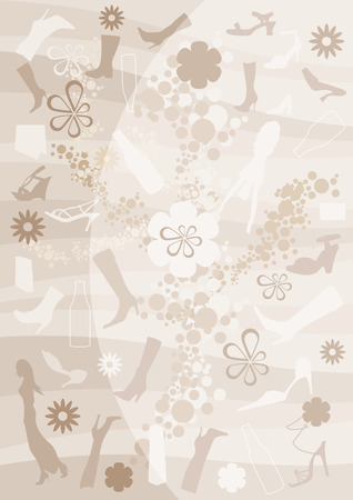Fashion, bottle and floral background Vector