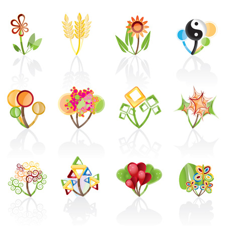 12 abstract flowers -vector icon Vector