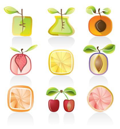 abstract fruit: Resumen de fruta icono conjunto Vectores