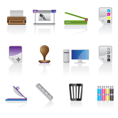 printer drawing: Print industry icon set