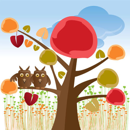 valentine tree with owls Illustration