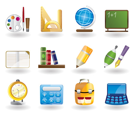 School and education icon set Stock Vector - 4397190