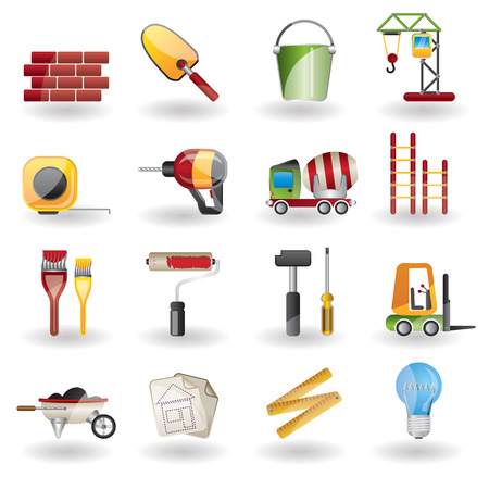 edit icon: Construction and Building Icon Set. Easy To Edit Vector Image. Illustration