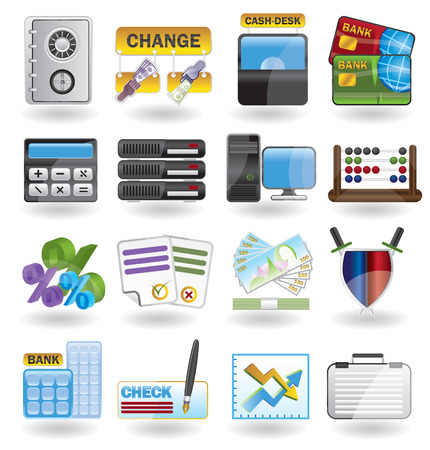 bank, business, finance and office icon set Vector