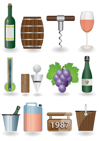 stopper: Wine icon set