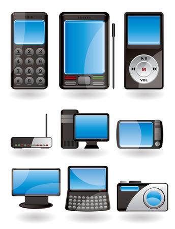 Hi-tech equipment icon set Stock Vector - 4397206