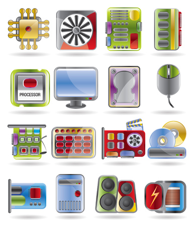 Computer  performance and equipment icon set Stock Vector - 4397207