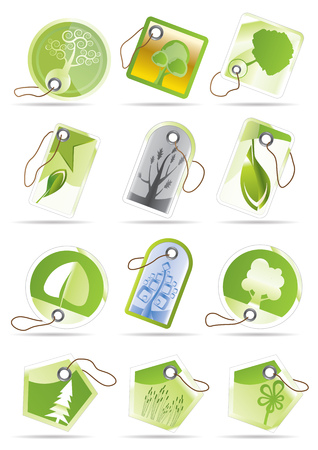 Green and leaf labels  Vector