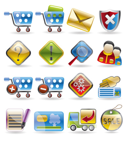 Online Shop Icon Set Vector
