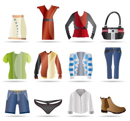 clothing shop: Iconos Ropa - Vector Icon Set Vectores