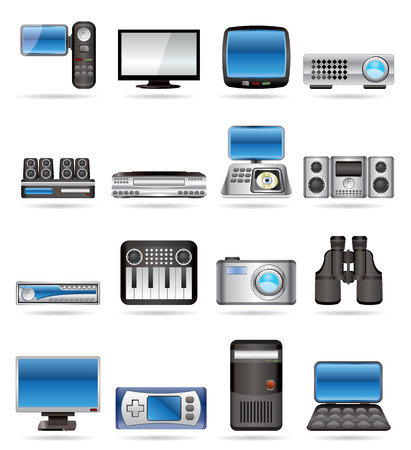 dvd player: Hi-tech equipment - vector icon set 2