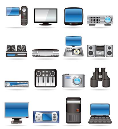 Équipement Hi-Tech - vecteur icône définie 2