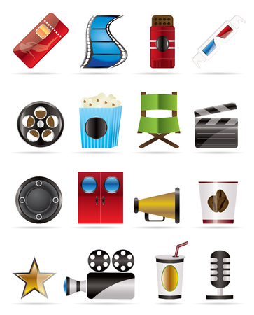 Cinema and Movie - vector icon set Stock Vector - 4572097