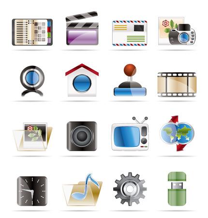 mobil: Pictogrammen voor Internet, computer en mobil telefoon  Stock Illustratie