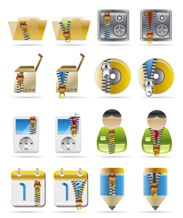 Internet, Business and Office Creative  Icon with Zipper - Set 2 Vector
