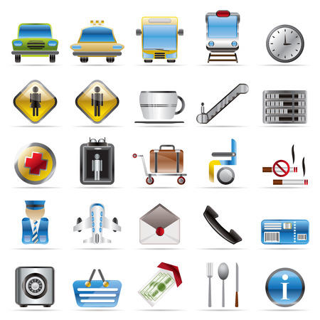 Airport, travel and transportation vector icon set Vector