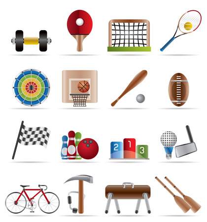 Sports gear and tools - vector icon set Stock Vector - 4609130