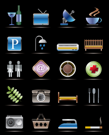 Hotel and Motel objects - Realistic Vector Icons Vector