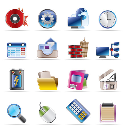 Computer, mobile phone and Internet Vector Icon Set Stock Vector - 4641263
