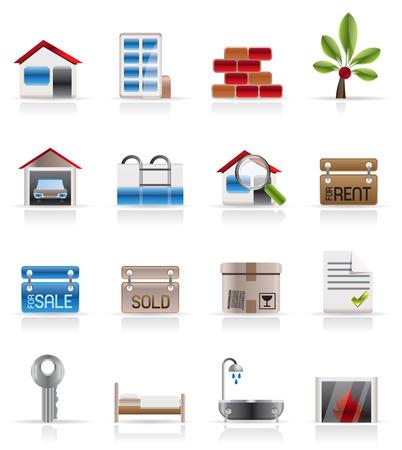 real estate sold: Inmobiliaria - Vector Icon Set Vectores