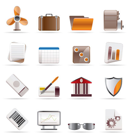 file cabinet: Realistic Business and Office Icons - Vector Icon Set 2