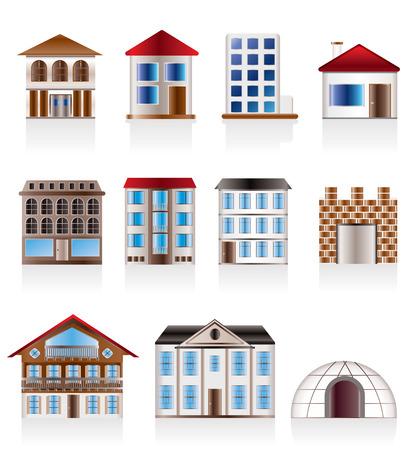Verschillende varianten van huizen en gebouwen - Vector Illustratie