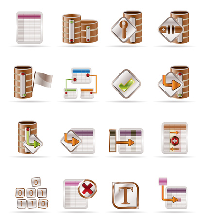 running off: Database and table icons - Vector Icon Set