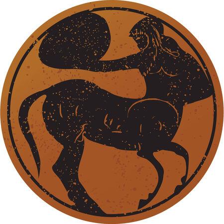 grecia antigua: Grecia pintura mural, Centaur. Editable del vector de imagen