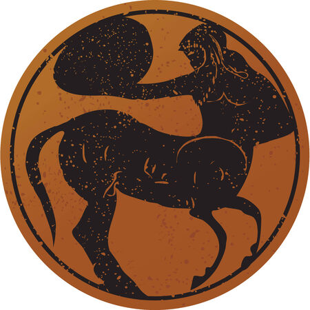 Greece mural painting,  Centaur. Editable vector image Vector