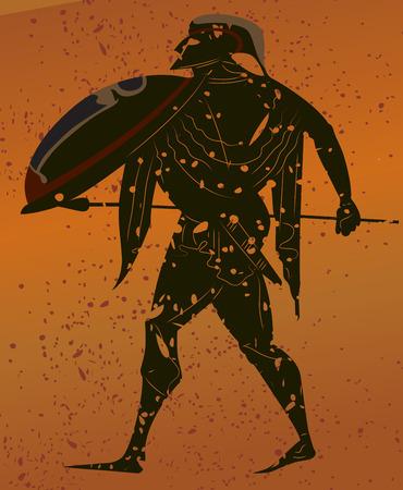 roman mythology: Greece mural painting,  Greek Soldier. Editable vector image
