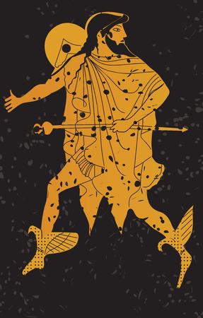 Greece mural painting,  Greek Soldier. Editable vector image