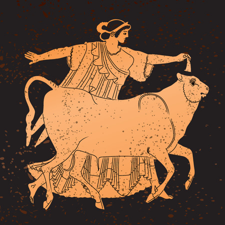 ancient greek: Greece mural painting,  Woman and Bull. Editable vector image
