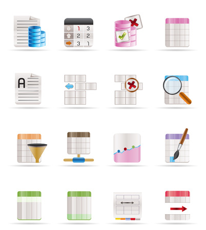 Database and Table Formatting Icons - Vector Icon Set Vector
