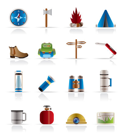 alpinism: Turismo e Vacanze Vector Icon Set