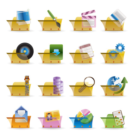 Computer and Phone Icons - Folders - Vector Icon Set Stock Vector - 4737063
