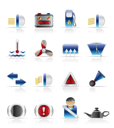 Car Dashboard - realistic vector icons set Vector