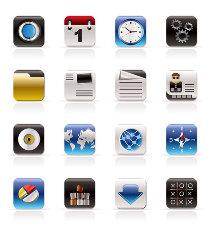 Mobile Phone, Computer and Internet Icons - Vector Icon Set Vector