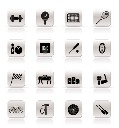 Simple Sports gear and tools icons - vector icon set  Vector