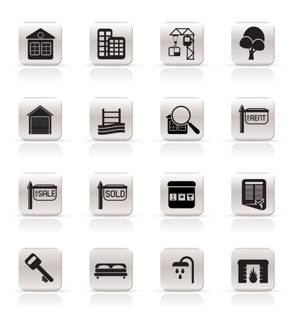car garden: Simple Real Estate Icons - Vector Icon Set