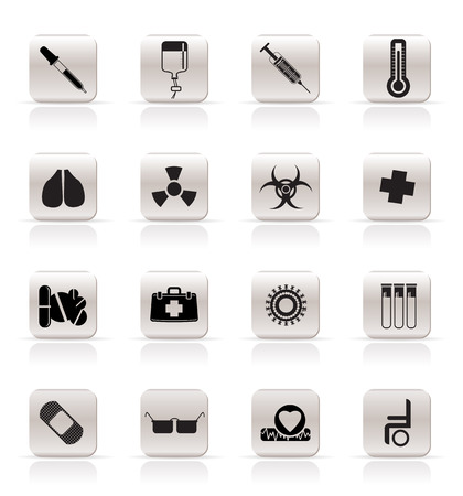 collection of  medical themed icons and warning-signs - Vector Icon Set Vector