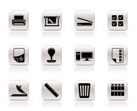 印刷業界のアイコン - ベクトル アイコンを設定  イラスト・ベクター素材
