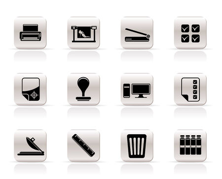 printer drawing: Print industry Icons - Vector icon set