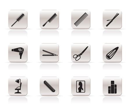 peigne et ciseaux: la coiffure, la coiffure et le maquillage vecteur ic�ne Illustration