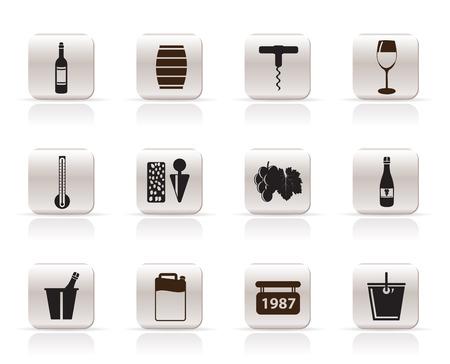 wine trade: Wine Icons - Vector Icon Set