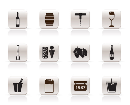 fruit trade: Wine Icons - Vector Icon Set
