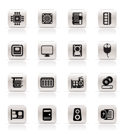 Simple Computer Performance and Equipment Icons - Vector Icon Set 向量圖像